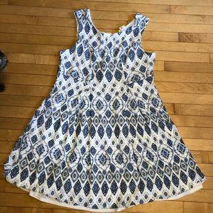 ModCloth  toile pattern white blue tank dress 2X